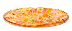 pizza with ham and green paprika - stock photo