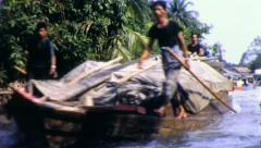 CARGO BOAT Riverside Life Thailand Circa 1970 (Vintage Film Home Movie) 4257 Stock Footage