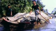 Stock Video Footage of CARGO BOAT Riverside Life Thailand Circa 1970 (Vintage Film Home Movie) 4257