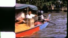 LONGTAIL BOAT Riverside Bangkok 1970 (Vintage Film Home Movie) 4258 Stock Footage