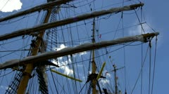 Tall ship rigging, flags and masts; 5 Stock Footage