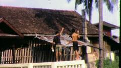 BOYS FLY KITES Riverside Bangkok Circa 1970 (Vintage Film Home Movie) 4260 Stock Footage