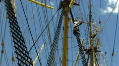 Tall ship rigging, flags and masts; 6 Stock Footage