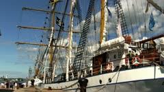 Indonesian tall ship Dewaruci; 4 Stock Footage