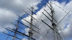 Masts and rigging of a sailing ship. - stock footage