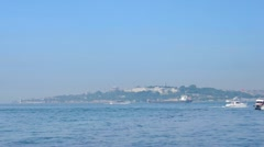 Panning view to the Maiden Tower from Salacak coast, Istanbul, Turkey. Stock Footage