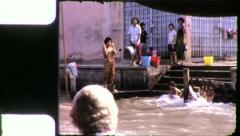 THAIS BATHING Riverside Bangkok Thailand 1970s Vintage Film Home Movie 4263 Stock Footage