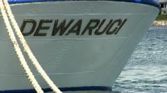 Dewaruci stern lettering Stock Footage
