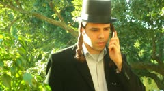 Orthodox jew jewish phone cell Stock Footage