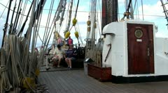Main deck of tall ship Stock Footage