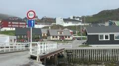 Greenland Qaqortoq bridge Stock Footage