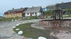 Greenland Qaqortoq fountain square Stock Footage