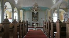 Greenland Qaqortoq inside church altar Stock Footage