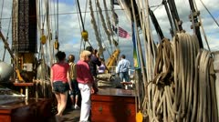 Ropes, rigging and tourists on tall ship Stock Footage