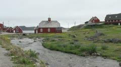 Greenland Qaqortoq by stream Stock Footage