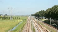 Stock Video Footage of Train driving in the countryside from the Netherlands