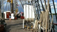 Main deck of Dewaruci tall ship Stock Footage