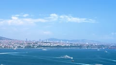 Time-lapse video with aerial view to Istanbul behind the Bosphorus Stock Footage