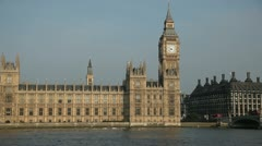 Houses of Parliament straight on mid-shot - stock footage