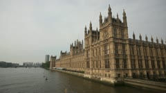 Houses of Parliament wide with River Thames - stock footage
