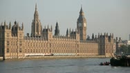 Stock Video Footage of Houses of Parliament angled wide no boat