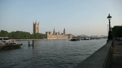 Houses of Parliament wide no boat - stock footage