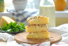 Cornmeal Flatbread with Cheese and Sunflower Kernels - stock photo