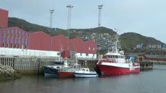 Greenland Qaqortoq harbor with ship Stock Footage