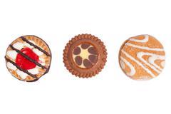three crunchy biscuits - stock photo