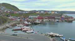 Greenland Qaqortoq harbor with boats Stock Footage