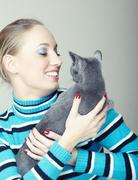 Play with cat Stock Photos