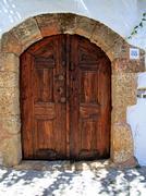 Lindos door rhodes greece Stock Photos
