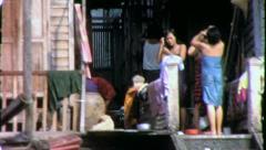 THAI WOMEN Bathe Riverside Bangkok 1970 (Vintage Film Home Movie) 4271 Stock Footage