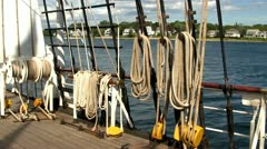Tall ship sheets, ropes and pulleys Stock Footage