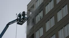 Power washing condo from lift Stock Footage