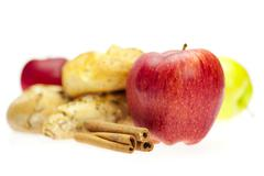 Stock Photo of apple, bread and cinnamon isolated on white