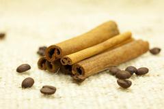 cinnamon and pistachios on linen fabric - stock photo