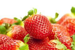 juicy strawberries isolated on white - stock photo