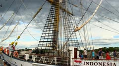 Tourists on deck of tall ship Dewaruci Stock Footage