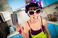 Stock Photo of crazy housewife