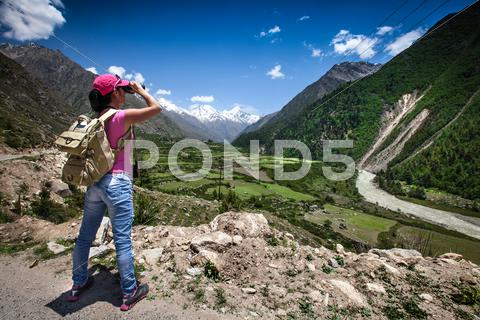 Stock photo of woman traveler