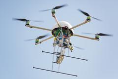 Uav drone in sky Stock Photos