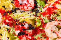 salad of caviar and shrimps, macro - stock photo
