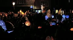 Harvest Moon Celebrations - Crowd in Street with Paper Lanterns - Slow Pan HD Stock Footage