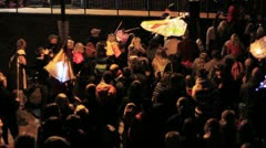 Harvest Moon Celebrations - Crowd in Street with Paper Lanterns - Slow Pan 2 HD Stock Footage