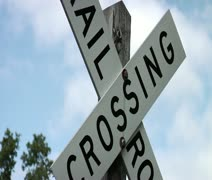 White rail crossing sign Stock Footage