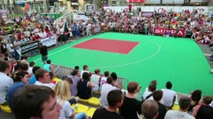 Streetball pitch with people Stock Footage