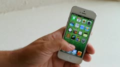 Iphone 5, browsing the apps Stock Footage