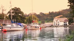 Boats on the River Dart in Totnes, Devon HD Stock Footage