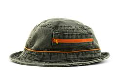Summer denim hat with orange zipper Stock Photos